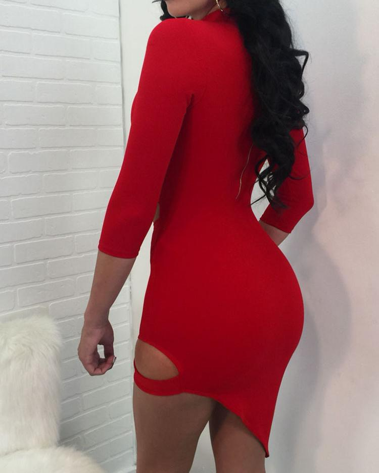 Choker V Cutout Asymmetric Bodycon Dress