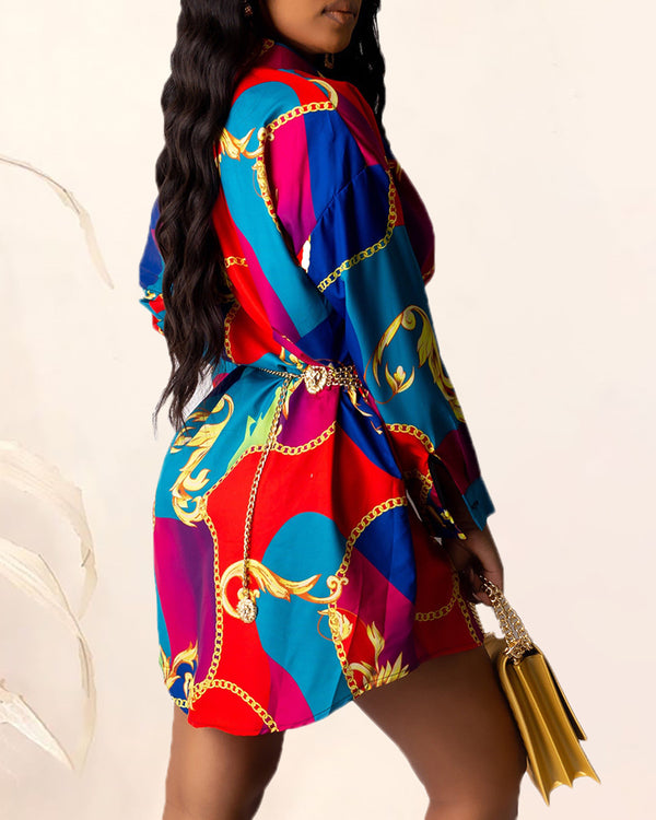 Colorful Paisley Print Shirt Dress