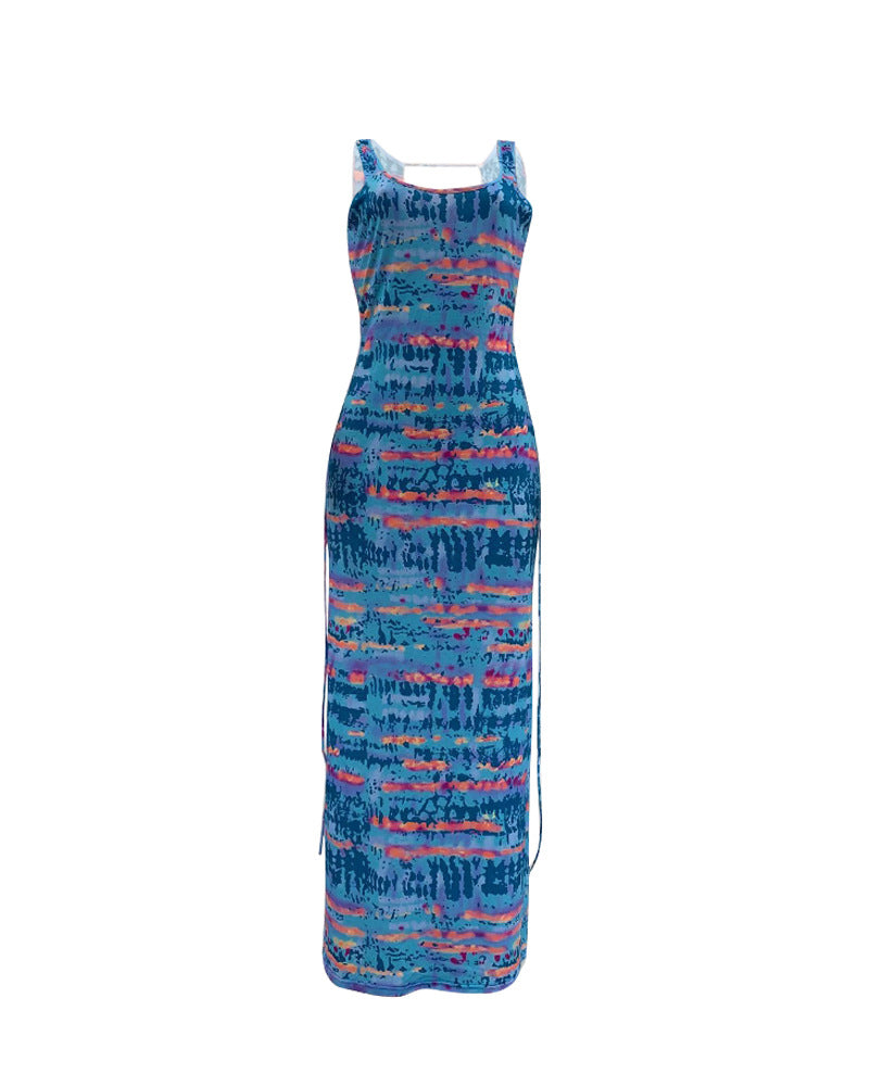 Tie Dye Print Crisscross Backless Maxi Dress