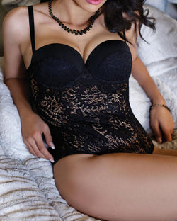 Sexy Spaghetti Strap Push Up Padded Lace Teddy Lingerie