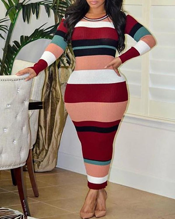 Ribbed Colorblock Long Sleeve Casual Dress