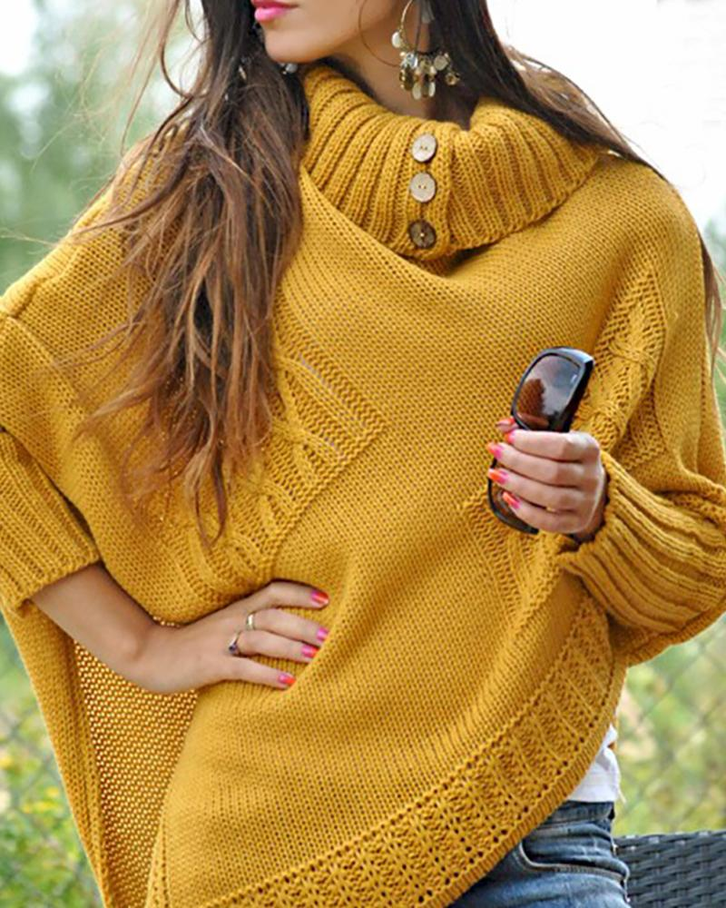 High Neck Ribbed Knitting Irregular Hem Casual Sweater