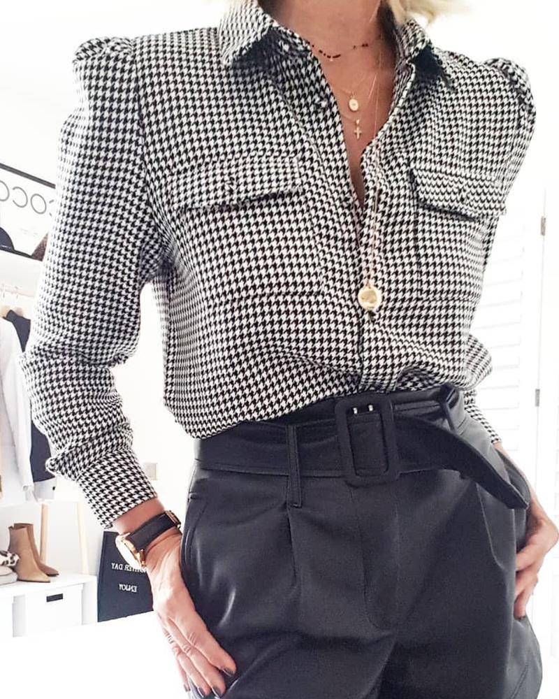 Houndstooth Double Pocket Casual Top