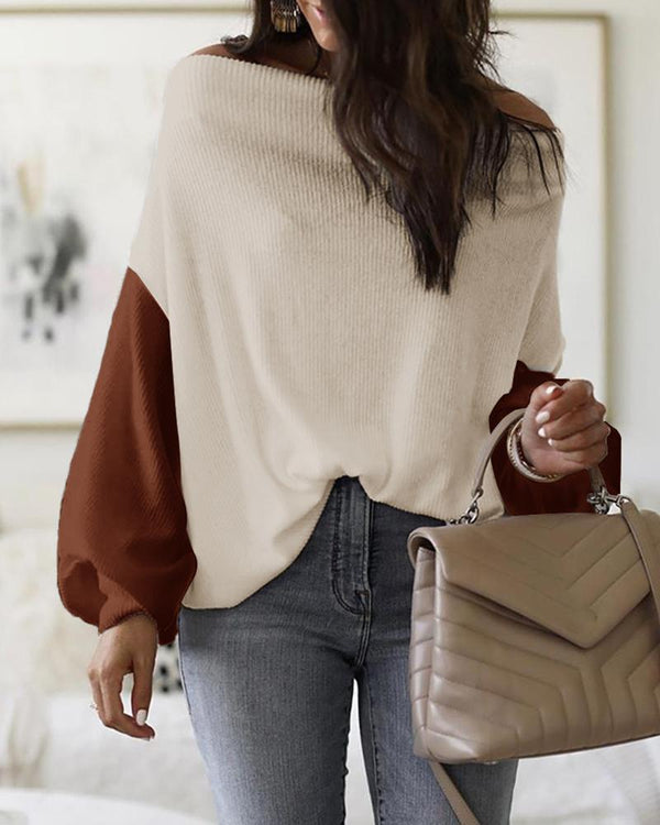 Colorblock Off Shoulder Lantern Sleeve Blouse