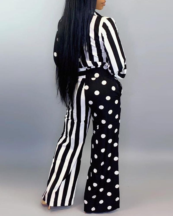 Striped Polka Dot Print Buttoned Wide Leg Jumpsuit