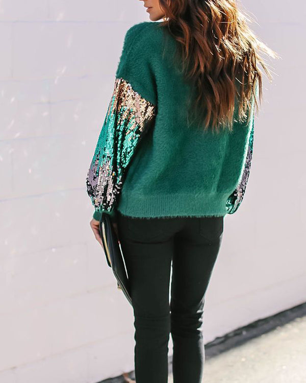 Contrast Sequined Sleeve Knit Sweater