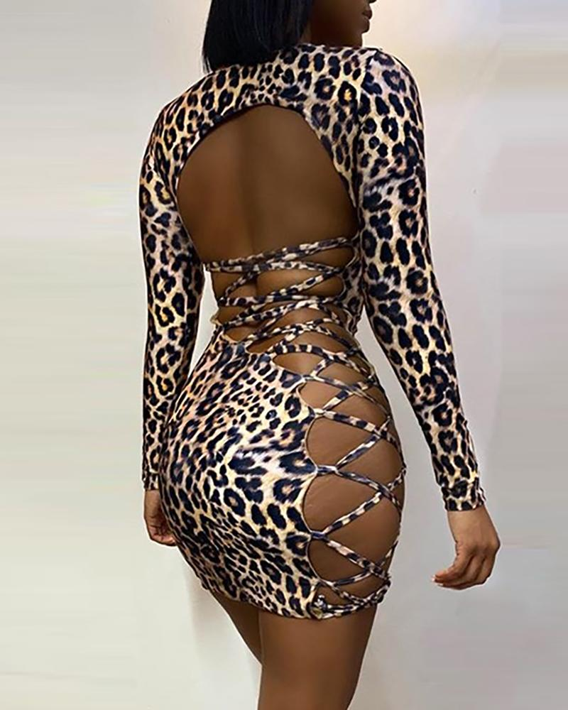 Leopard Lace Up Backless Bodycon Dress