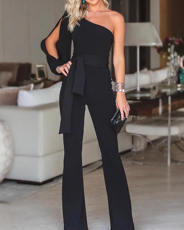 Stylish One Shoulder Slit Sleeve Jumpsuit