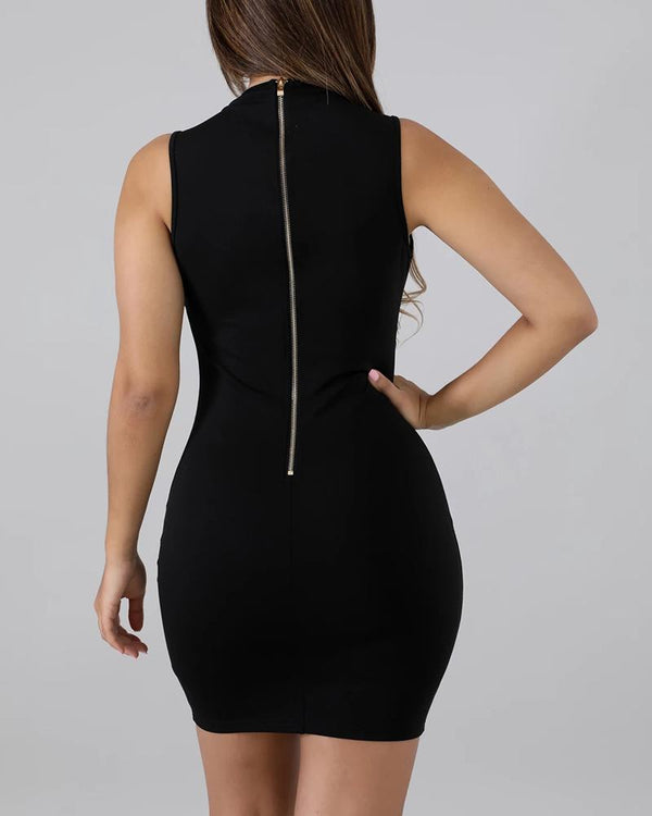 Solid Lace-Up Design Zipped Back Bodycon Dress