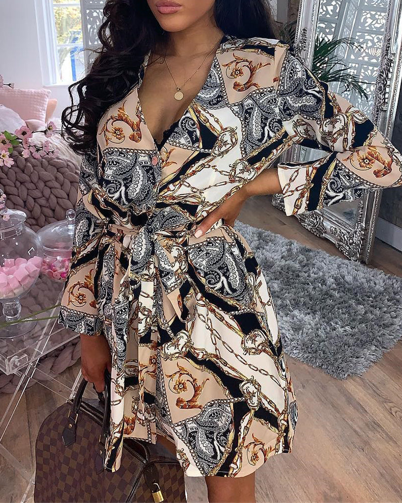 Mixed Print Knotted Front Shirt Dress