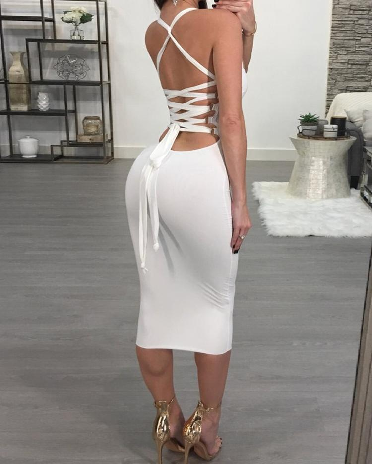 Sexy Bandage Strappy Back Bodycon Dress