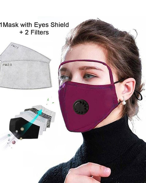 Outdoor Face Protective Ear Loop Valve Face Mask With Eyes Shield