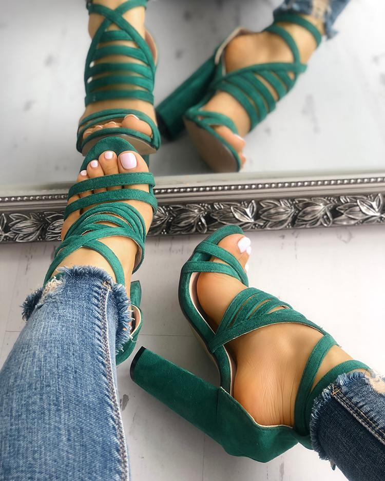 Strappy Open Toe Stiletto Sandals