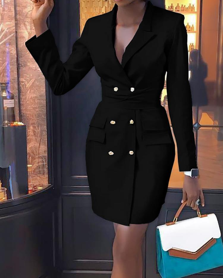Double Breasted Long Sleeve Blazer Dress