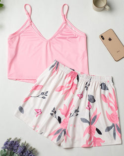 Comfy Ice Silk Tank & Shorts Pajamas Sets