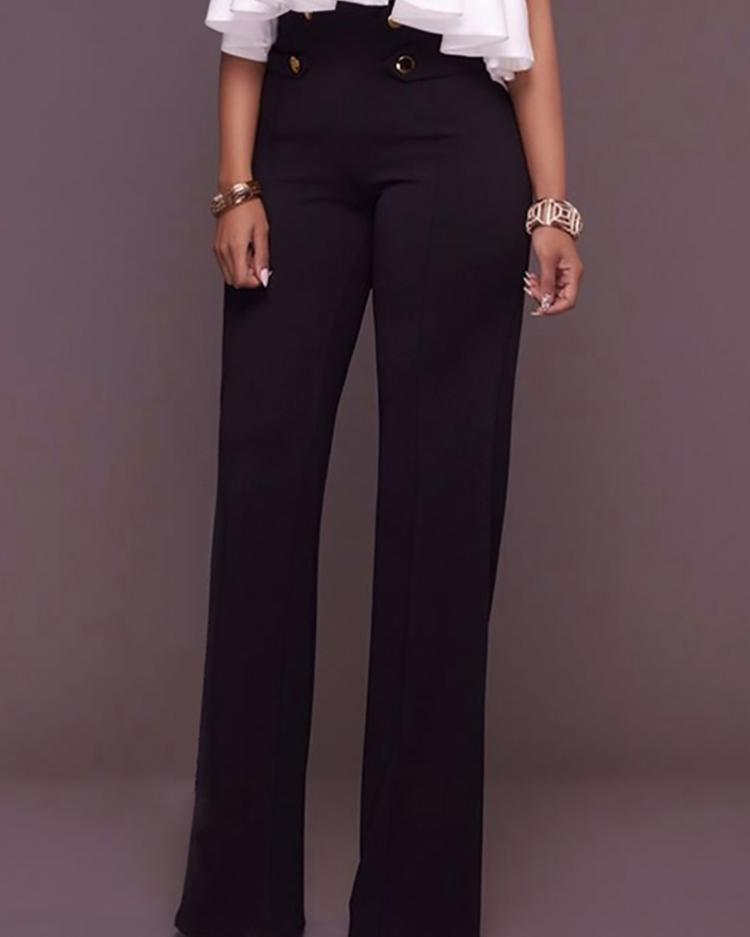 Buttoned High Waist Wide Leg Pants