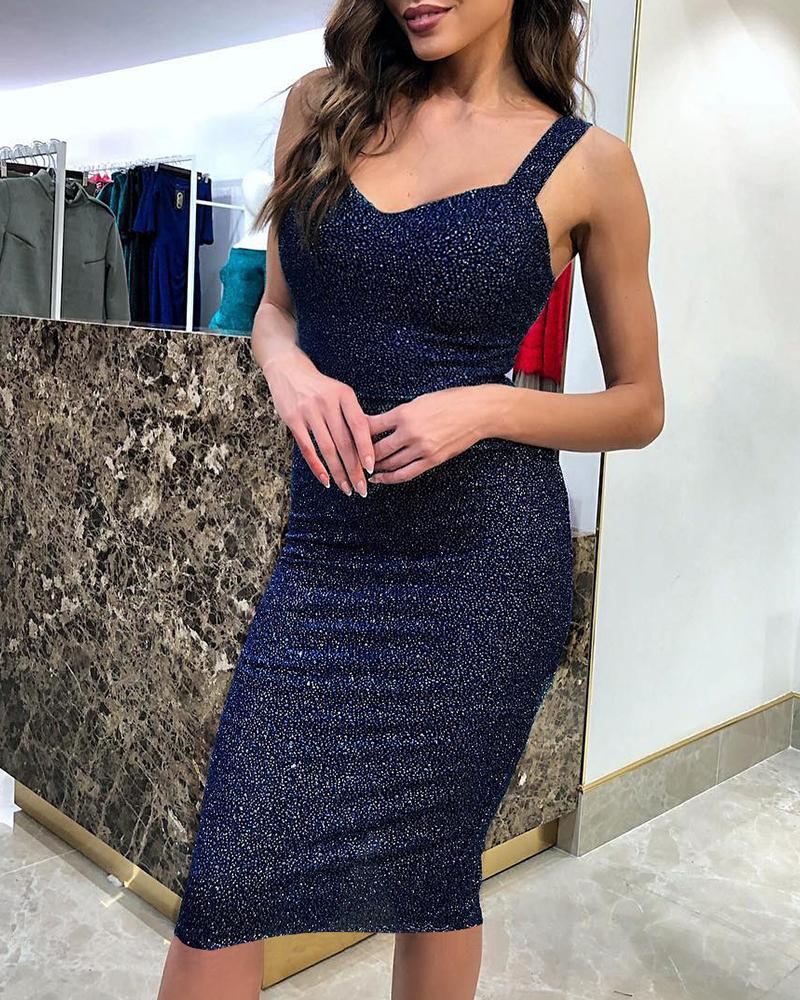Glitter Thick Strap Bodycon Party Dress