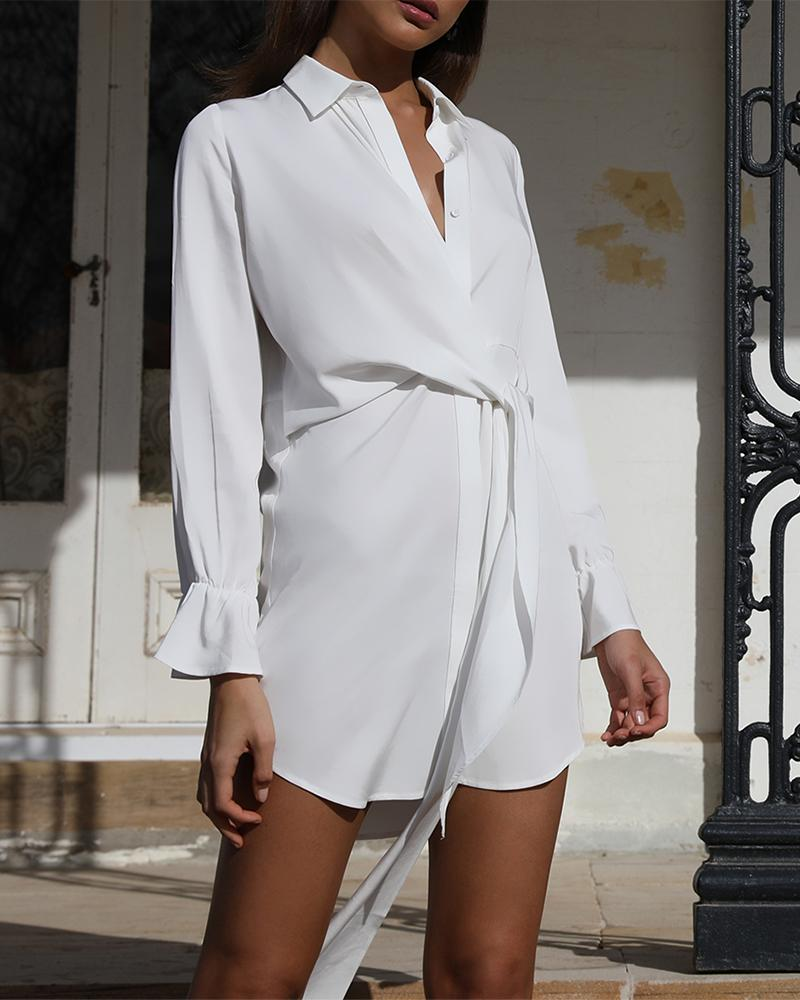 Solid Knotted Front Shirt Dress