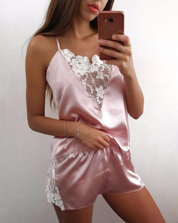 Spaghetti Strap Lace Trim Satin Cami Set