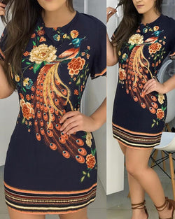 Floral Peacock Print Short Sleeve Dress
