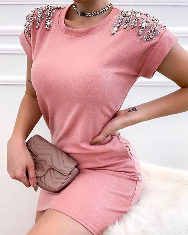 Beaded Design Short Sleeve Bodycon Dress