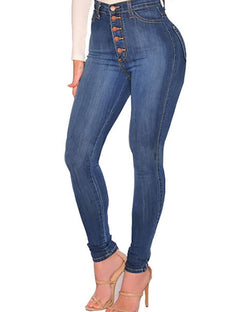 Button Fly High Waist Skinny Jeans