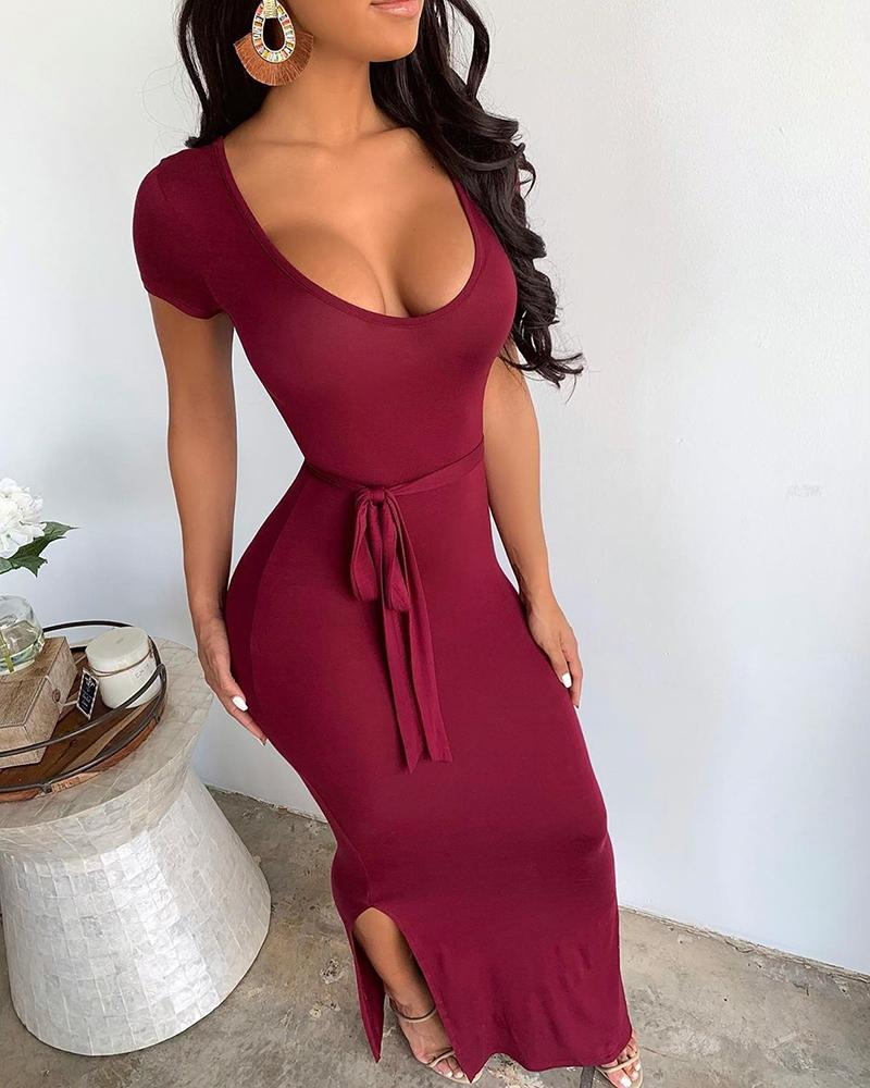 Solid Tied Waist Slit Dress