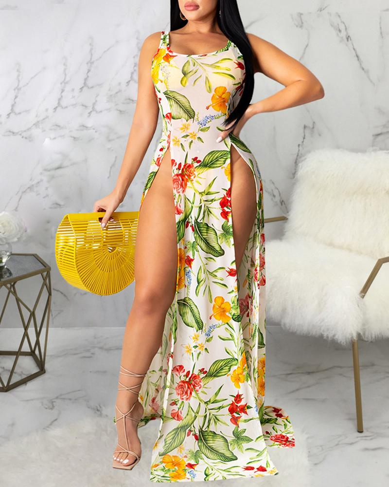Tropical Plant Print High Slit Maxi Dress