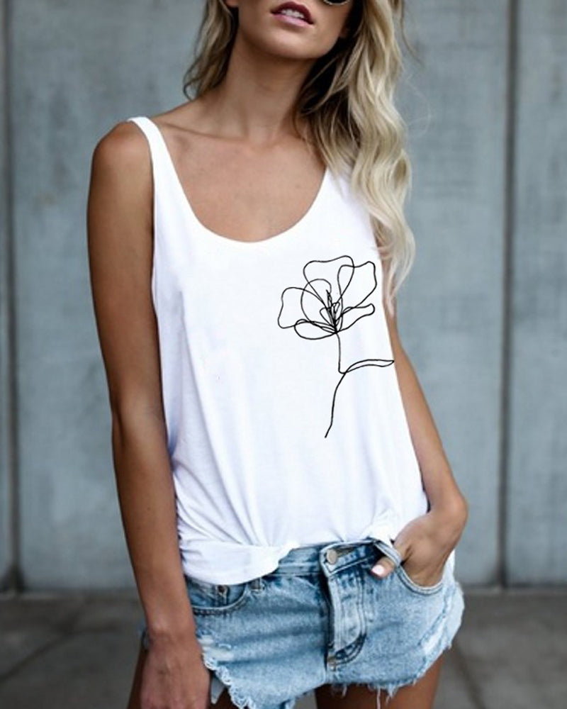 Summer Casual Rose Print Tank Top