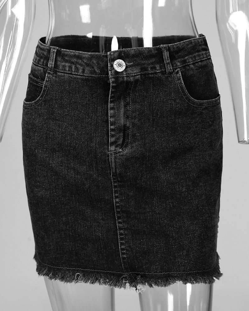 Denim High Waist Mini Skirt