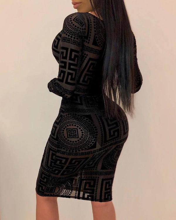 Mesh Print Long Sleeve Tied Front Bodycon Dress