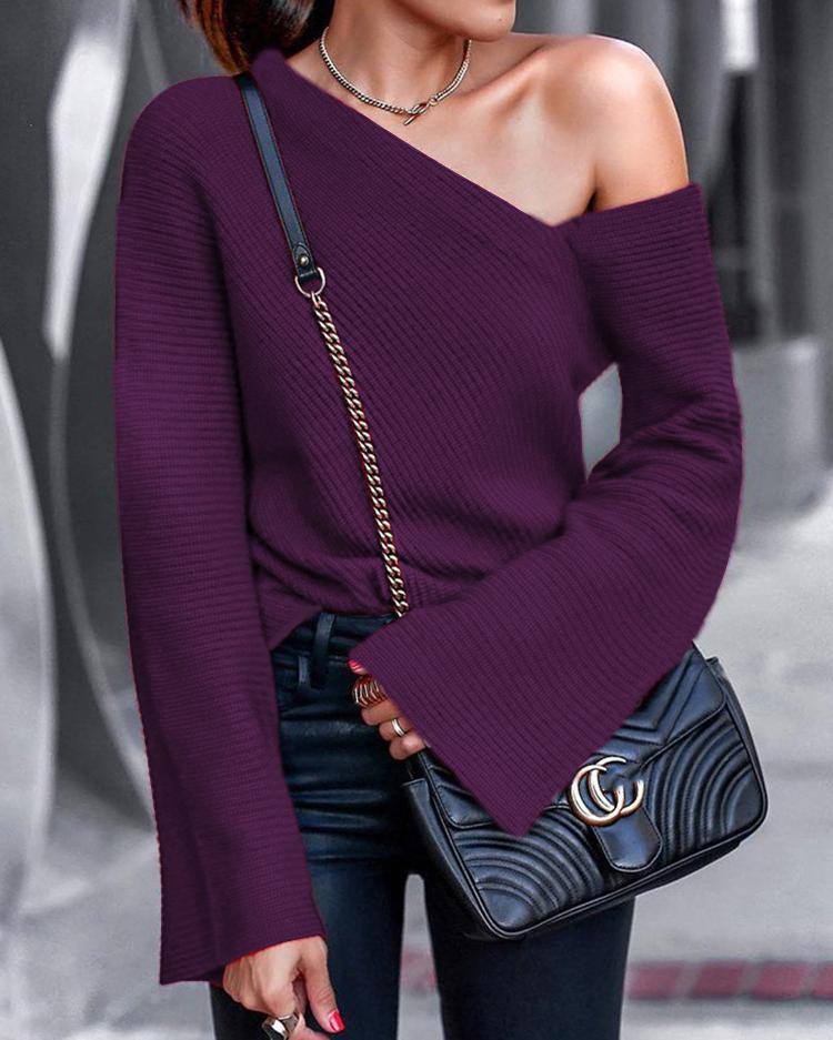 Bell Sleeve Pullover Casual Blouse