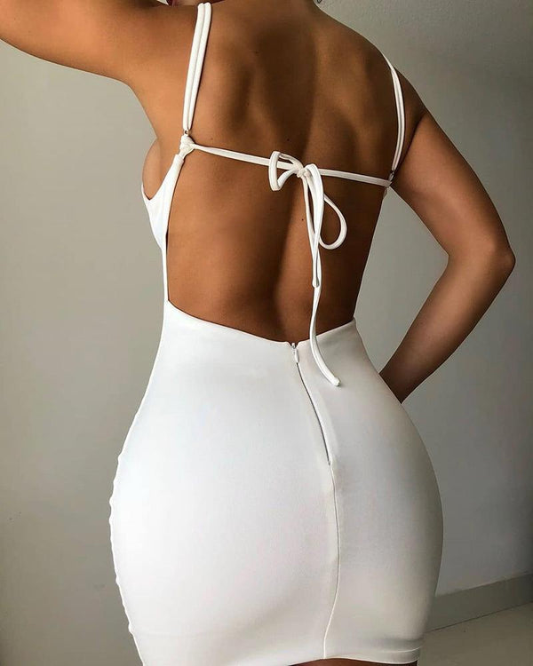 Cutout Front Backless Zipper Design Bodice Bodycon Dress