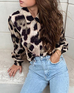 Lantern Sleeve Abstract Leopard Print Shirt