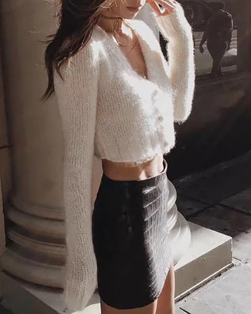 Solid Long Sleeve Cropped Sweater