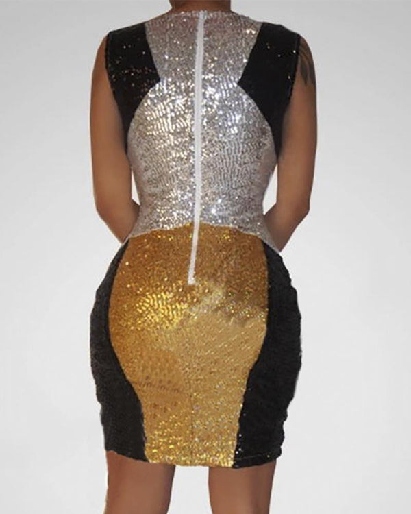 Glitter Sleeveless Colorblock Cut Out Sequins Bodycon Dress