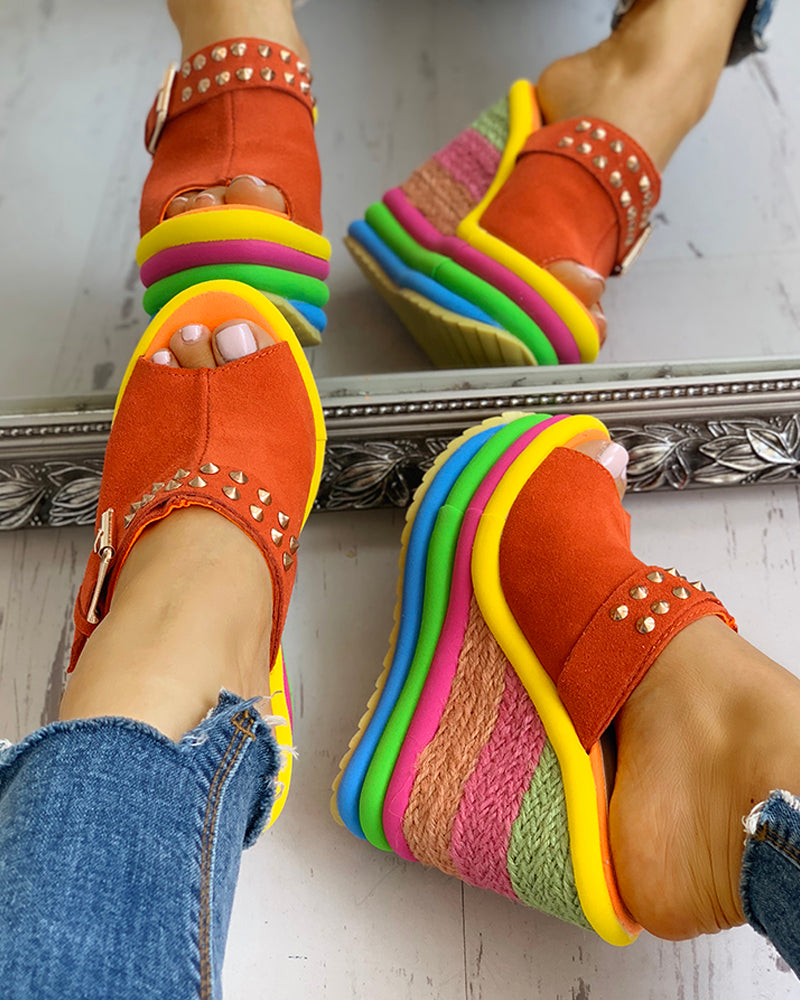 Rivet Colorblock Espadrille Wedge Sandals