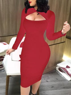 Cut Out Front Long Sleeve Bodycon Midi Dress