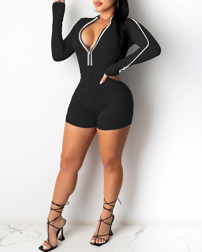 Ruched Zipper Design Contrast Binding Romper