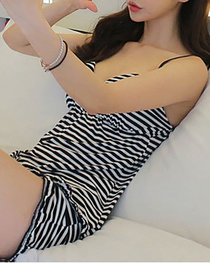 V-neck Striped Cami Sets