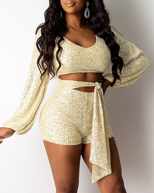 Glitter Sequins Round Neck Lantern Sleeve Crop Top & Shorts Sets
