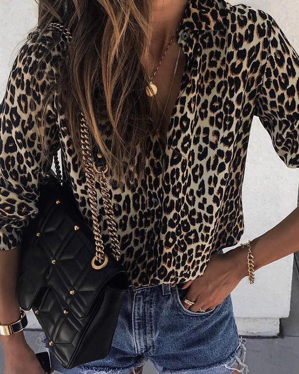 Long Sleeve Leopard Print Casual Shirt