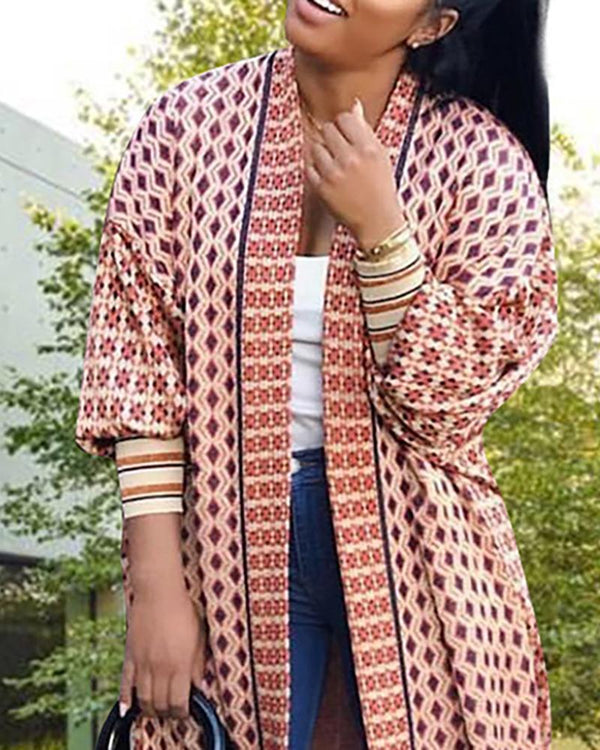 Geo Print Long Sleeve Casual Coat