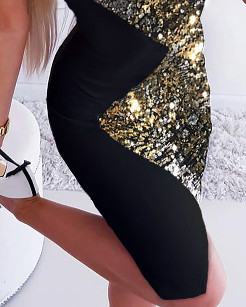 Glitter Sleeveless Colorblock Insert Sequins Bodycon Dress