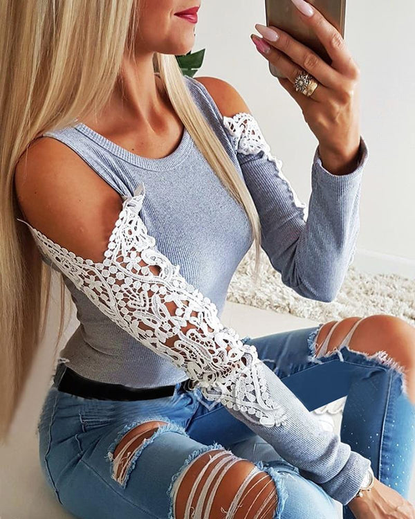 Ribbed Cold Shoulder Lace Detail Sleeve Blouse