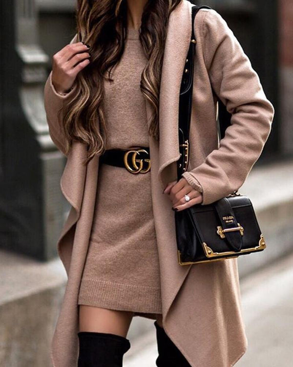 Solid Open Front Drape Coat