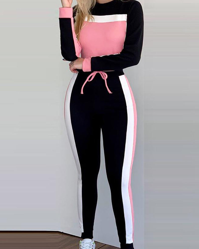 Colorblock Long Sleeve Top & Striped Tape Pants Sets
