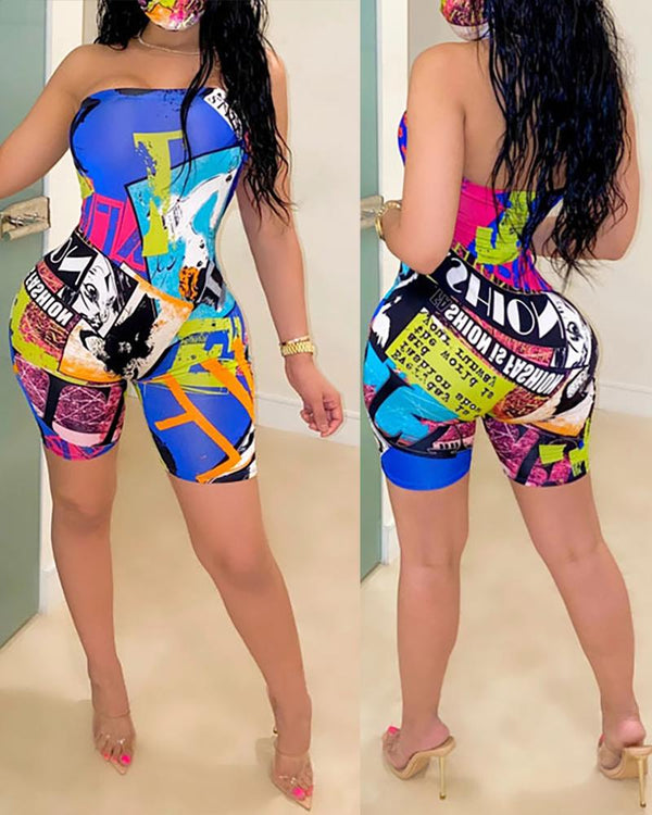 Graphic Print Bandeau Backless Romper