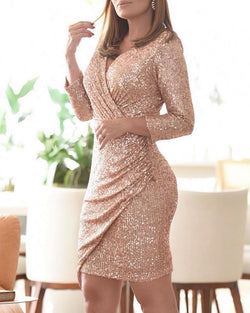 Sequins Long Sleeve Bodycon Ruched Dress