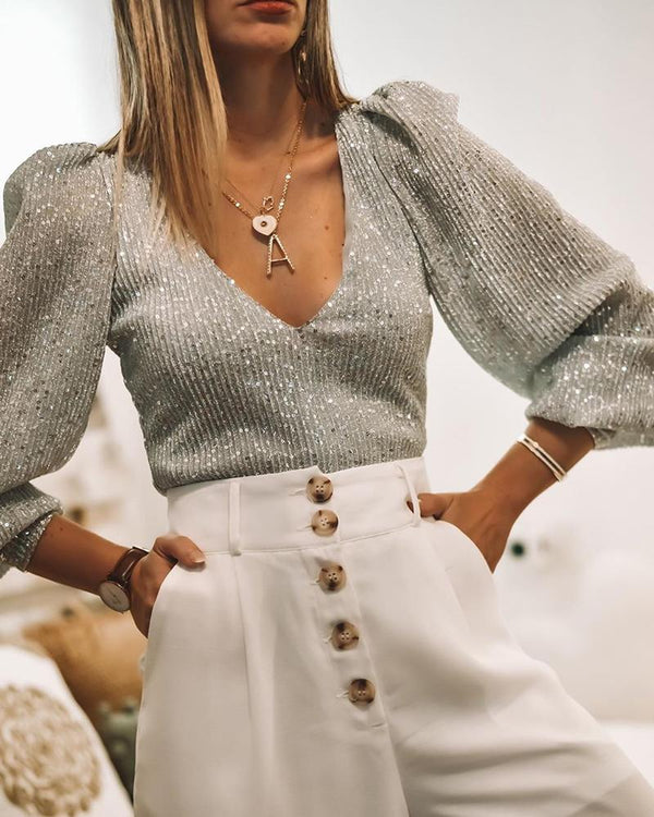 V Neck Puff Sleeve Studded Top